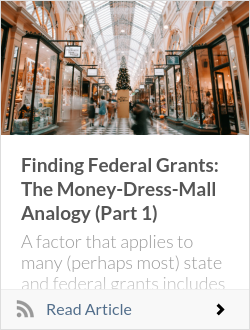 Finding Federal Grants: The Money-Dress-Mall Analogy (Part 1)