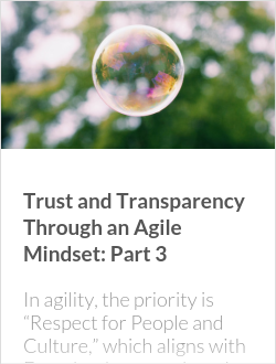 Trust and Transparency Through an Agile Mindset: Part 3