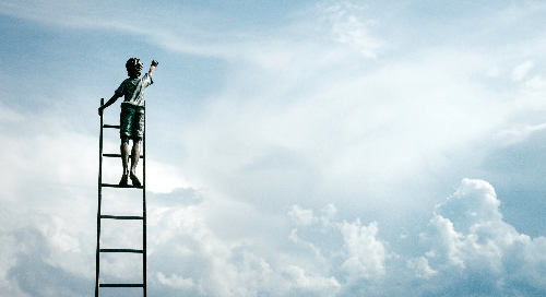 Little Boy on Ladder in Clouds