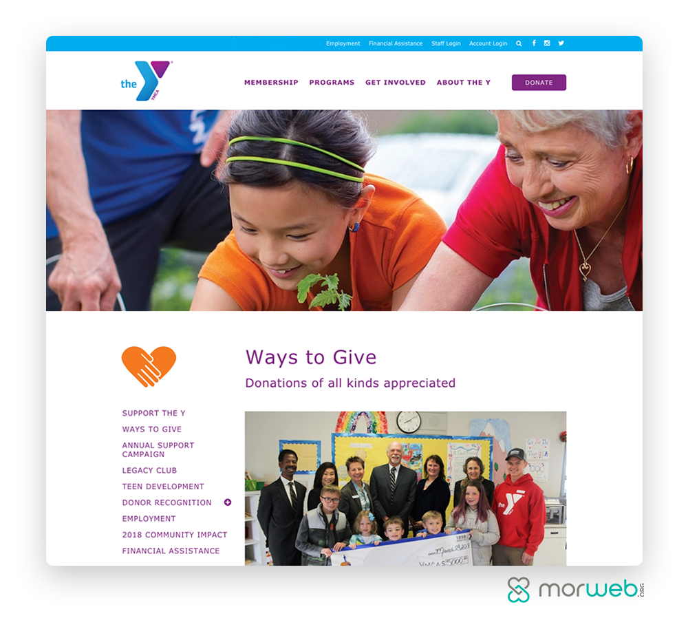YMCA Ways to Give Webpage