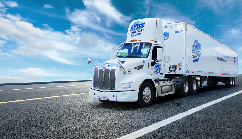 A truck on a highway