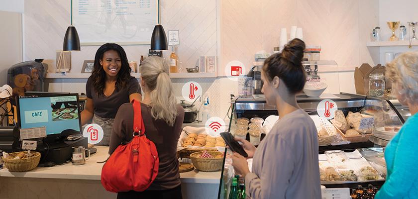 Un groupe de personnes dans une boulangerie