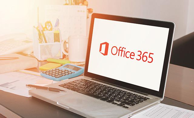 Un écran d'un ordinateur portable qui dit Office 365