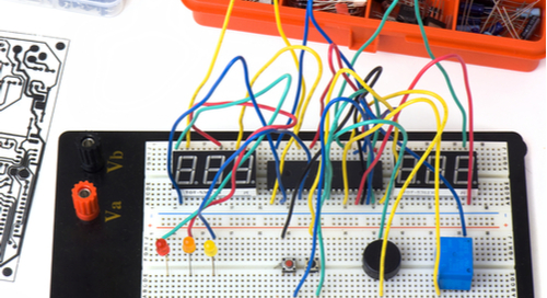 Picture of circuits on a breadboard before SPICE