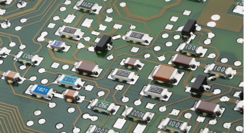 Passive surface mount components on green PCB