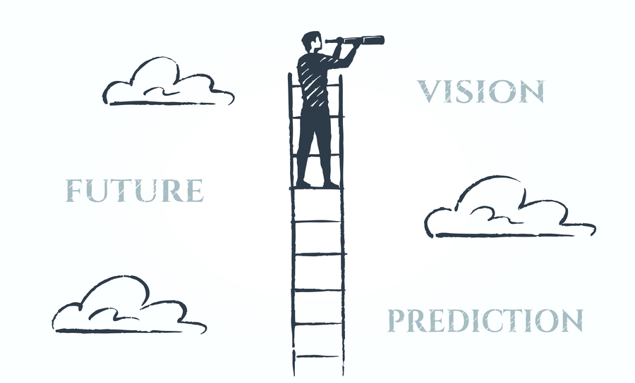 Sketch of a figure on a ladder using a telescope to see the horizon