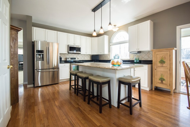 Picture of kitchen with hardwood floor