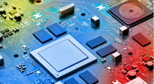 Digital and analog integrated circuits on colored PCB