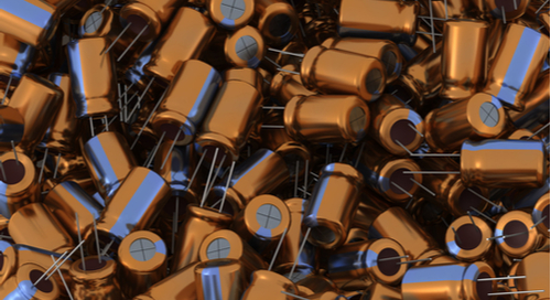 A pile of electrolytic capacitors, passive components