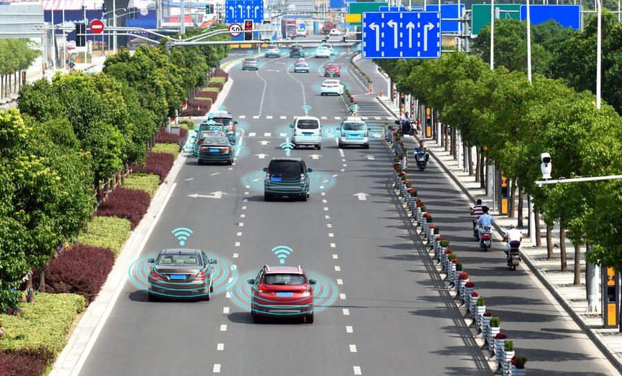 Cars on highway with sensor signals around them
