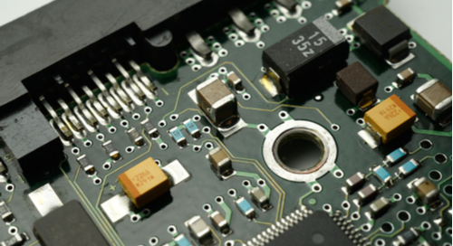 Surface mount technology and SMD on a printed circuit board