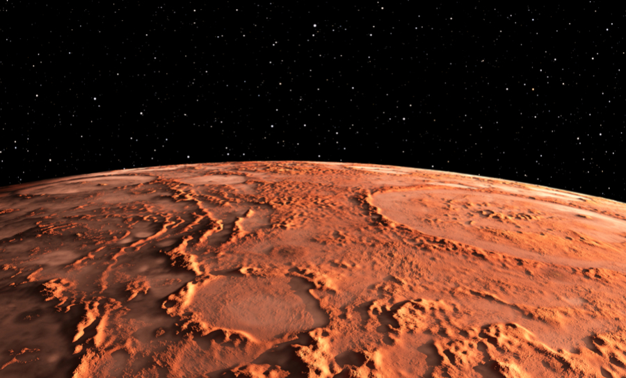 Surface of Mars and view of space