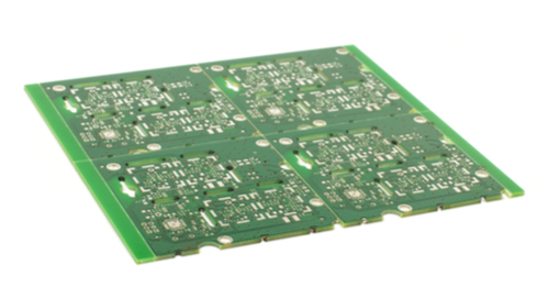 Four PCBs laid out in a panel using correct multi-board PCB edge clearances