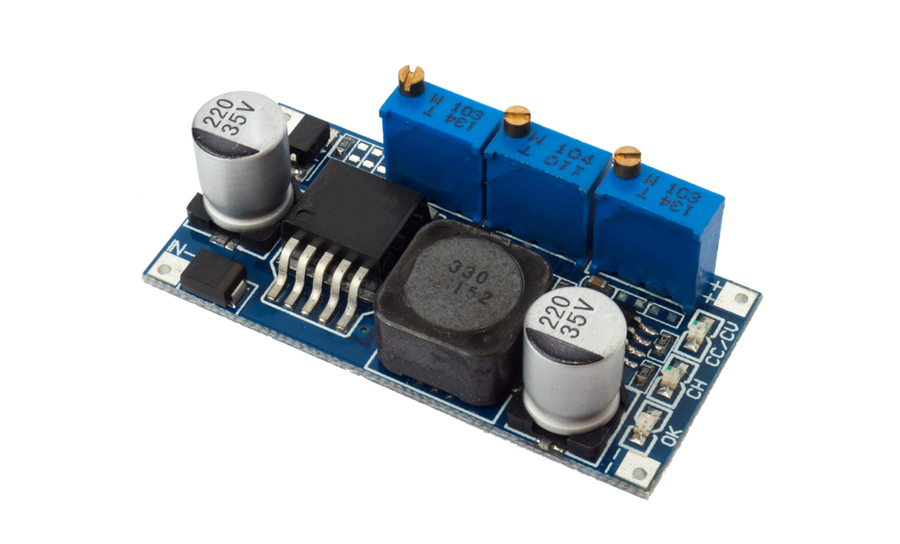 Buck-boost converter on blue PCB