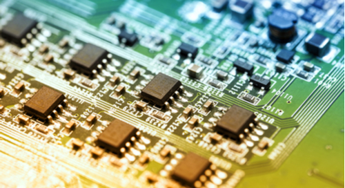 Integrated circuits with traces on a green PCB