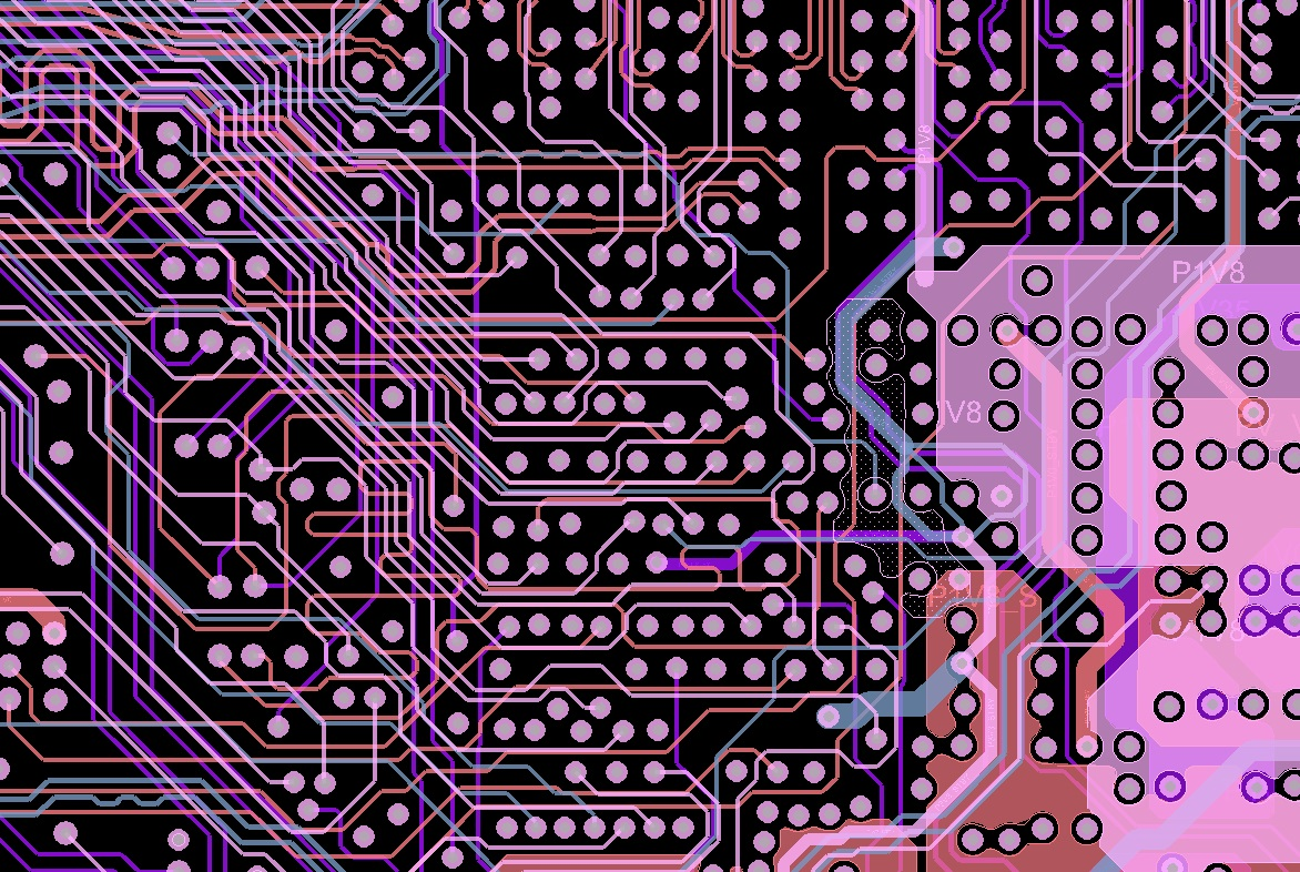 Inner routing layers of a PCB layout design