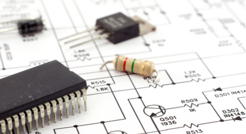 Components on a schematic depicting the PCB layout