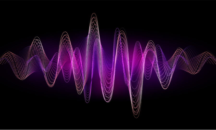 Purple waveforms on black background