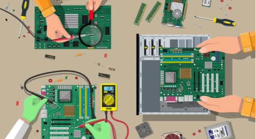 Various hands working on circuit board assembly in different stages