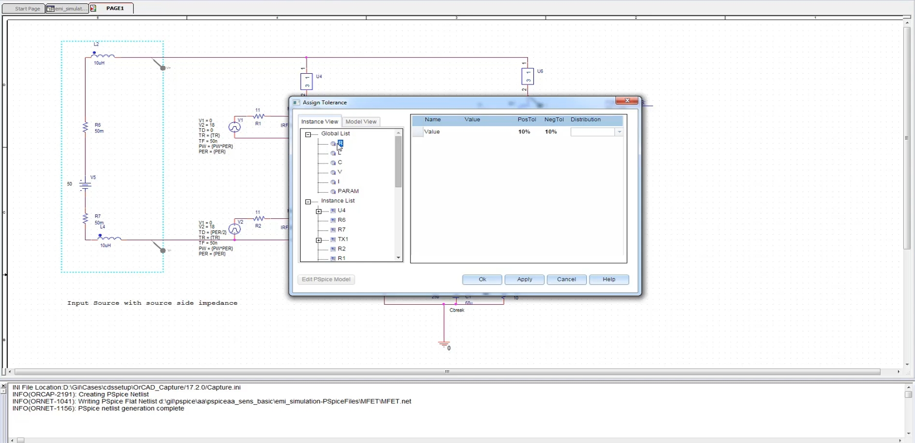 Schematic made in OrCAD Capture ready for PSpice Simulation using Ohm's Law