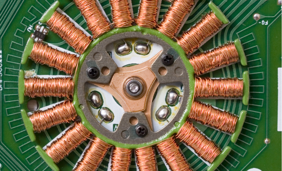 Stepper motor on a green PCB