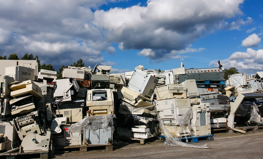 Pile of old electronics to be tossed or recycled