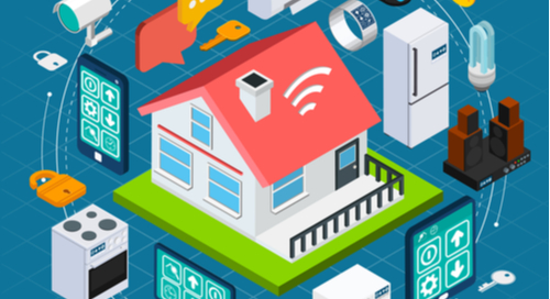 Smart home graphic with laptop, fans, and tablets