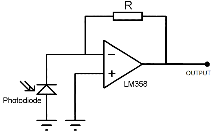 Photodiode circuit with an LM358 operational amplifier