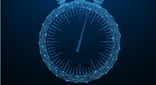 Digital clock on blue background