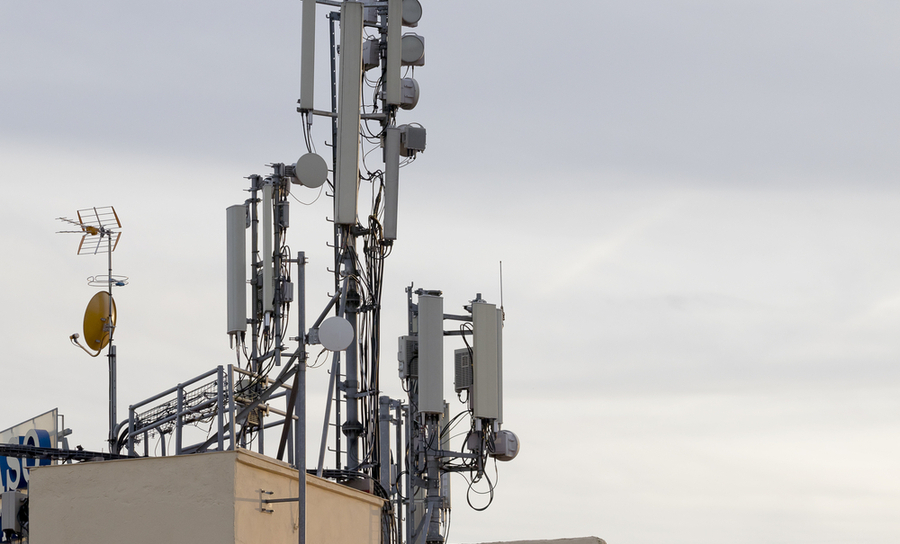 RF antennas on a rooftop