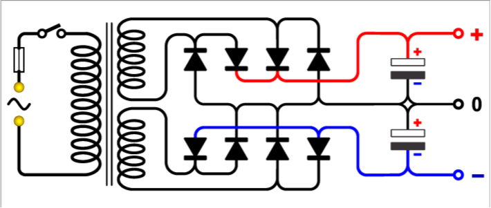 Dual DC power supply circuit diagram for independent and dependent voltage source problems