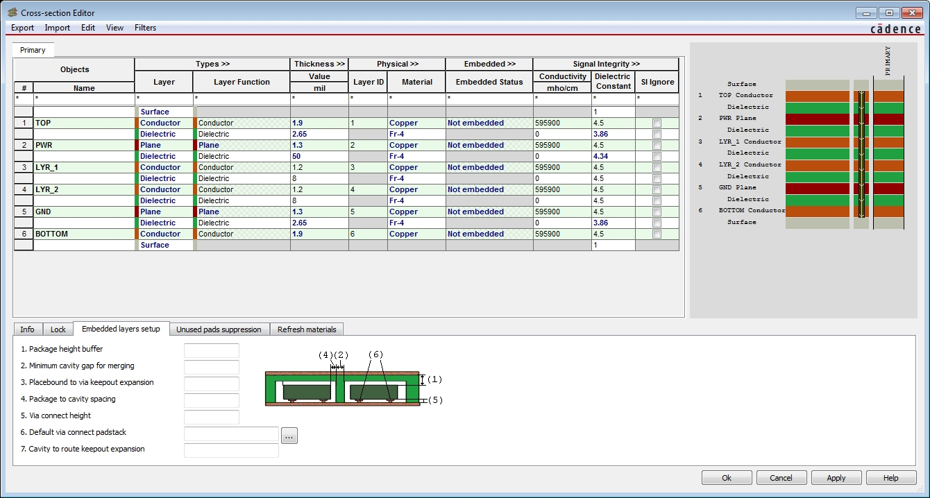 Screenshot of Cadence cross-section editor used in physical multi-board assembly designs
