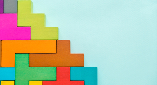 Set of multicolored blocks arranged in a staircase