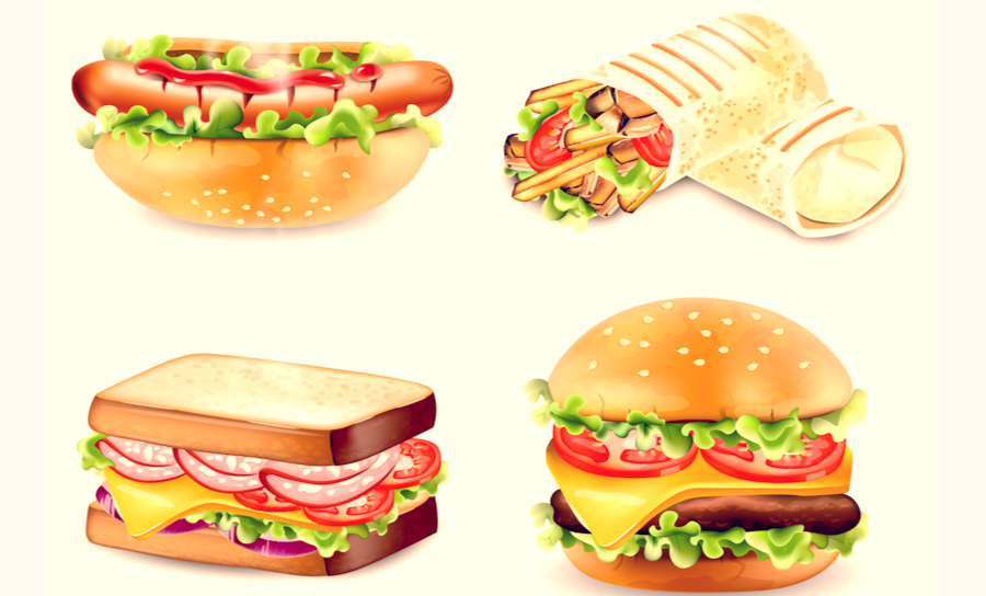 Collection of four sandwiches looking appealing
