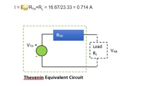 thevenin's equivalent circuit diagram and equation