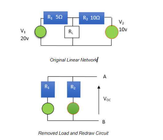 original linear network and removed load and redraw circuits