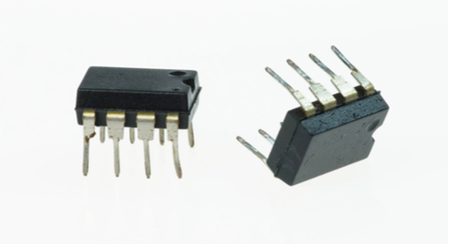 Op amp ICs on white background