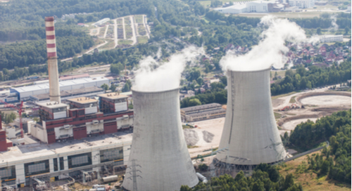 Cooling towers at a power plant