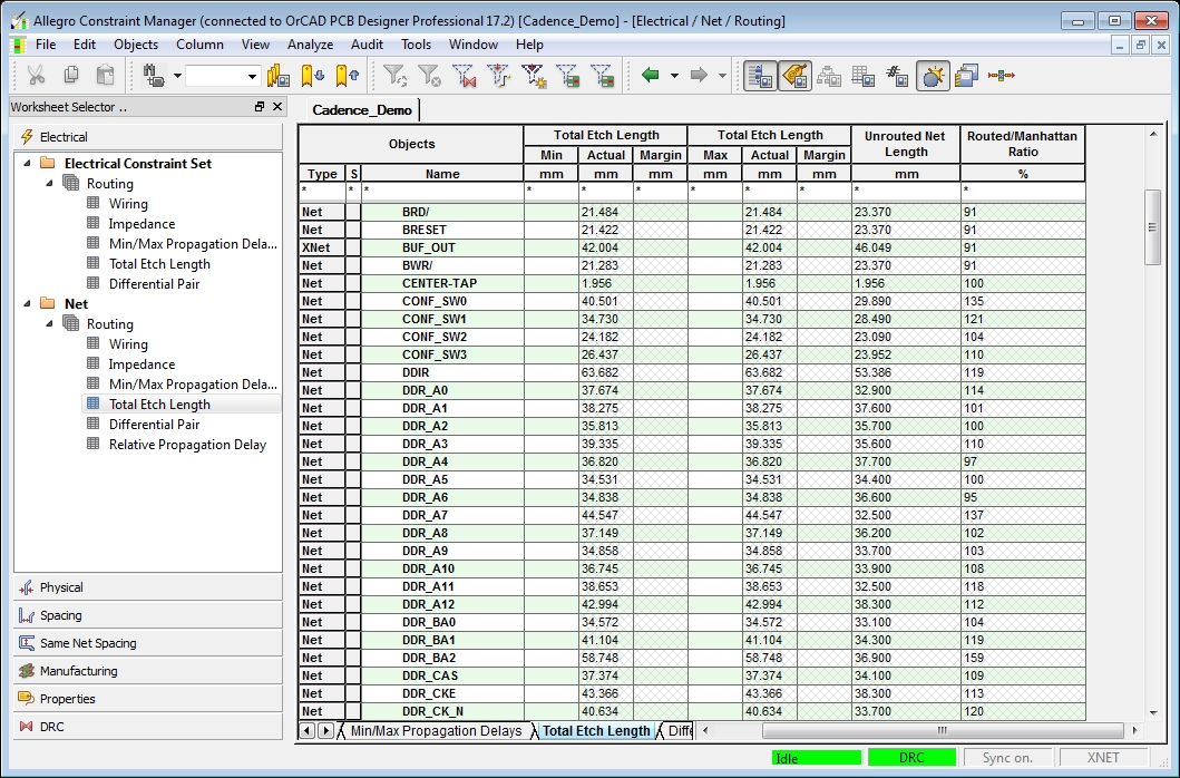 Screenshot of OrCAD constraint manager for high speed and RF PCB trace lengths