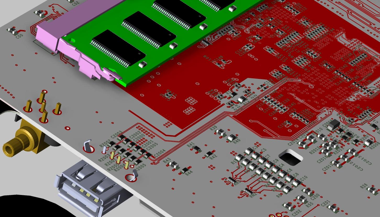 Screenshot of OrCAD PCB Designer 3D layout