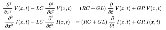 Wave equations for voltage and current