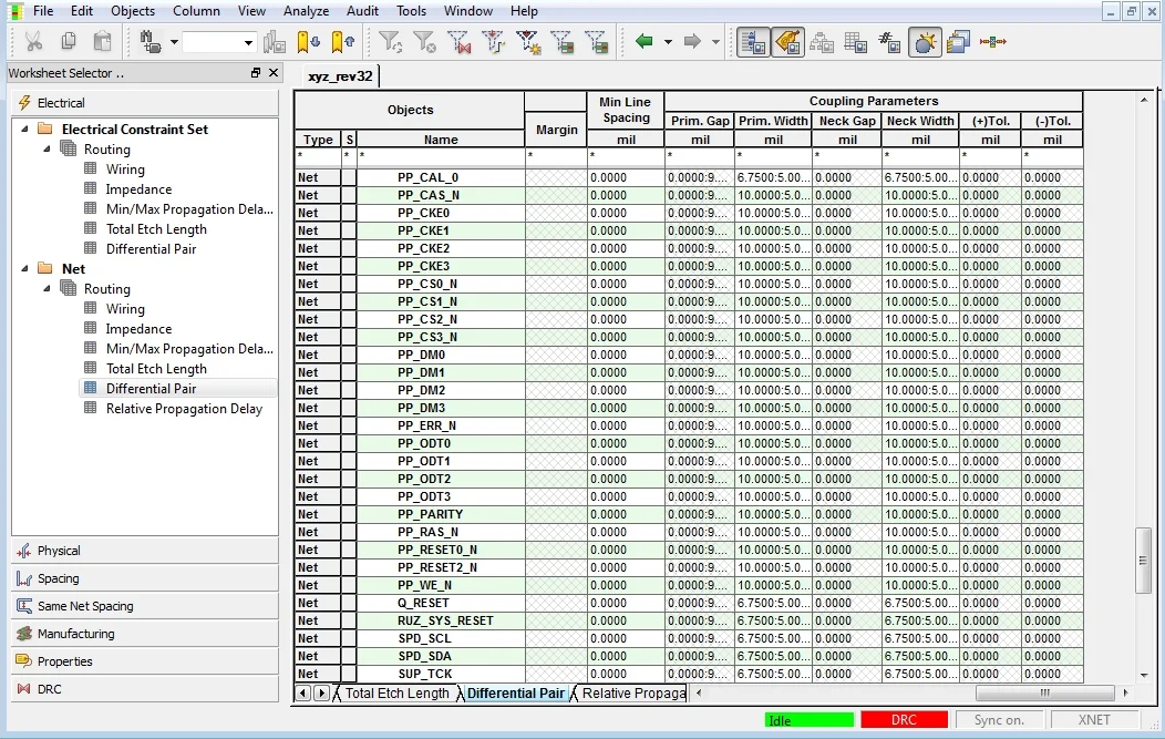 Screenshot of the Cadence constraint manager system