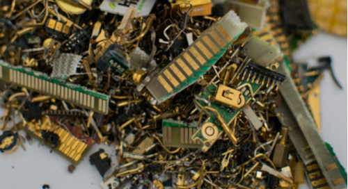 Pile of electronics scraps on a table