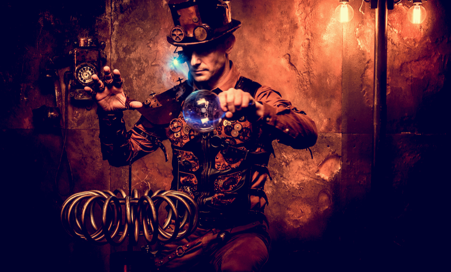 Man in steampunk equipment and dressage