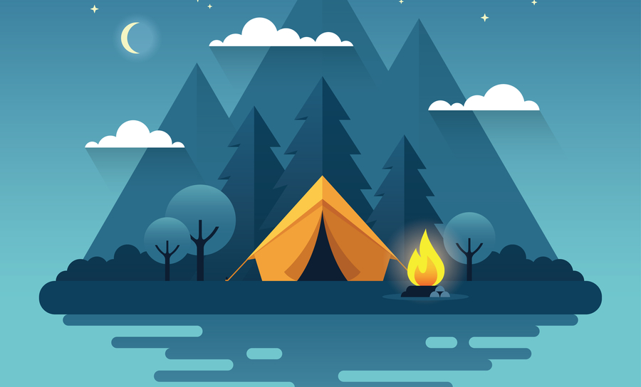 Campfire, blue background, sky, and tenting