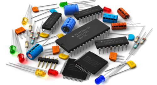 Various components assorted around chips and microcontrollers