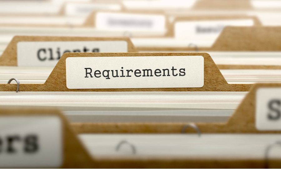 Requirements titled on file folders
