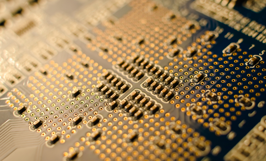 Back side of an FPGA development board