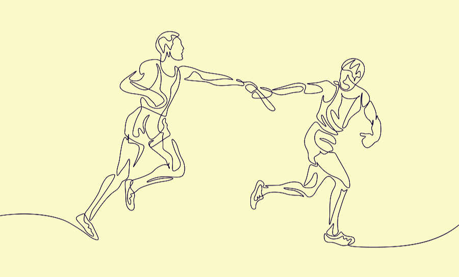 Two figures handing off a baton in a relay