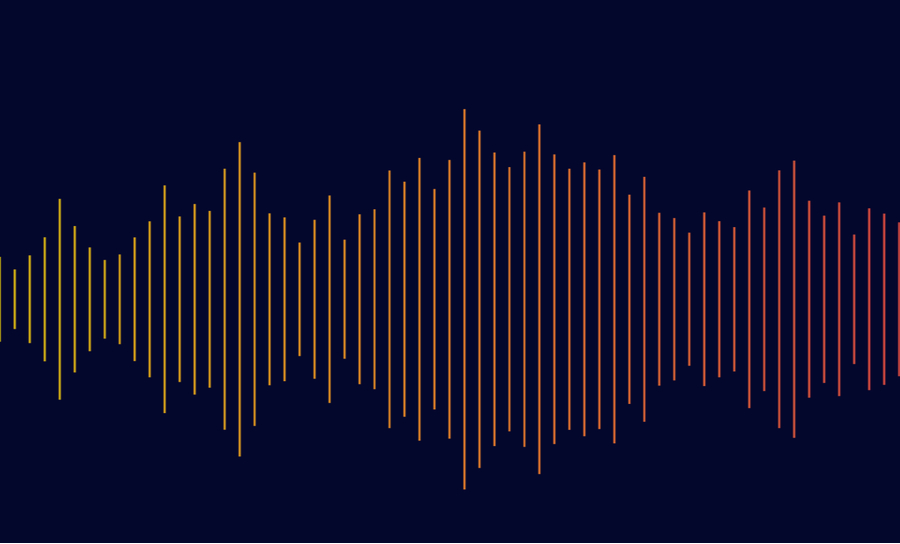 Soundwaves across a dark background